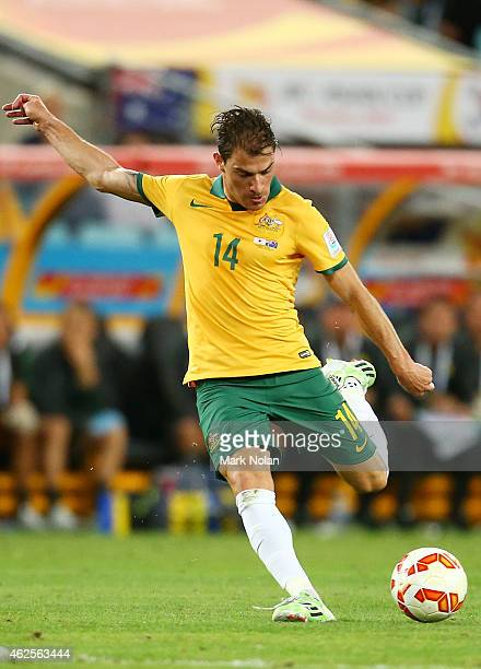 James Troisi of Australia in action during the 2015 Asian Cup final match between Korea Republic and the Australian Socceroos at ANZ Stadium on...