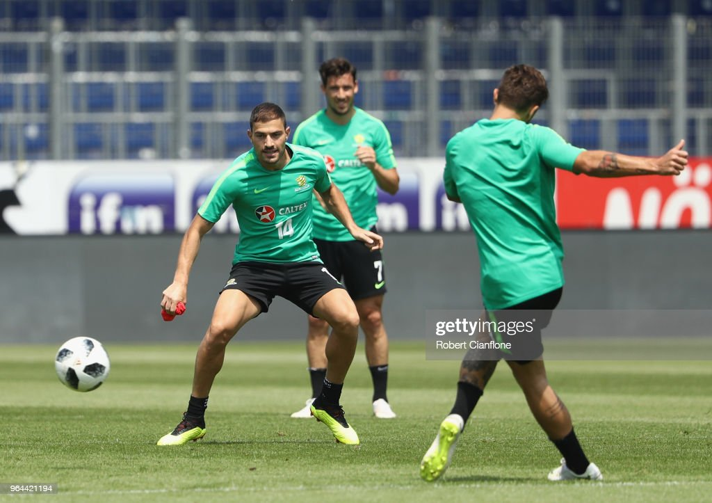 James Troisi of Australia looks to get the ball during an Australia Socceroos training session at NV Arena on May 31, 2018 in Sankt Polten, Austria.