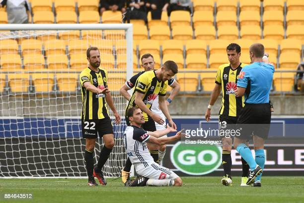 James Troisi of Melbourne Victory appeals to Referee Alex King during the round nine ALeague match between the Wellington Phoenix and the Melbourne...