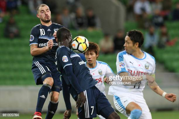 James Troisi of Melbourne Victory FC heads the ball during the AFC Champions League Group F match between Melbourne Victory and Kawasaki Frontale in...