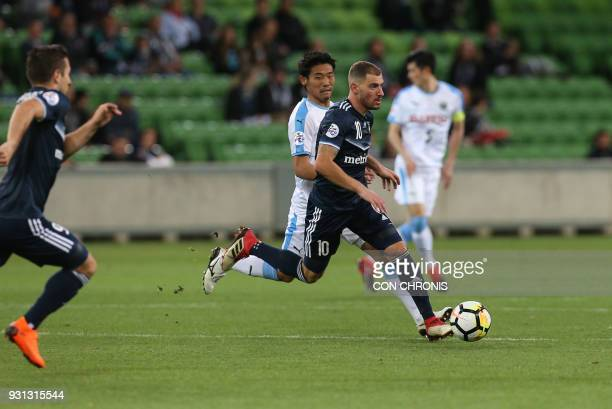 James Troisi of Melbourne Victory FC runs with the ball during the AFC Champions League Group F match between Melbourne Victory and Kawasaki Frontale...