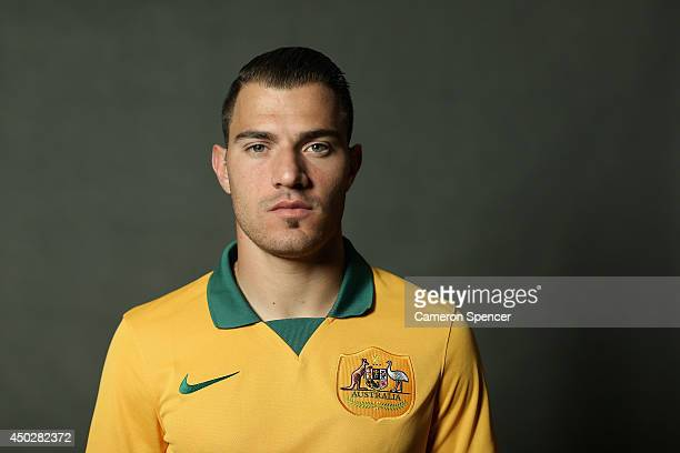 James Troisi of the Socceroos poses during an Australian Socceroos portrait session at Crowne Plaza Terrigal on May 20 2014 in Sydney Australia