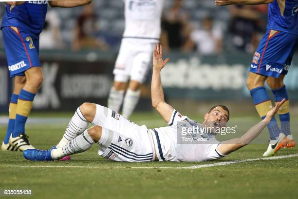 James Troisi of the Victory appeals for a penalty during the round 19 ALeague match between the Newcastle Jets and Melbourne Victory at McDonald...