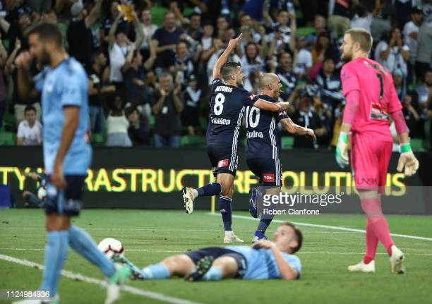 James Troisi of the Victory celebrates after scoring a goal during the round 16 ALeague match between the Melbourne Victory and Sydney FC at AAMI...