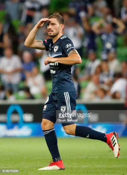 James Troisi of the Victory celebrates after scoring the Victorys first goal during the round 20 ALeague match between the Melbourne Victory and the...