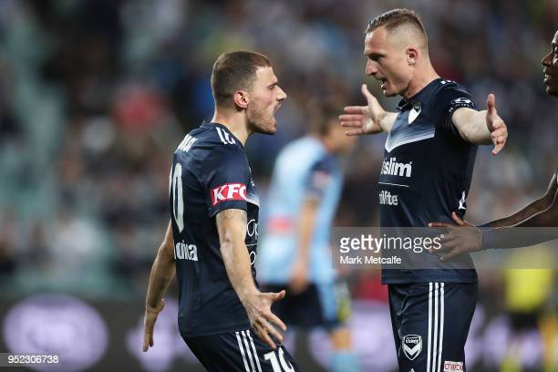 James Troisi of the Victory celebrates scoring a goal during the A-League Semi Final match between Sydney FC and Melbourne Victory at Allianz Stadium...