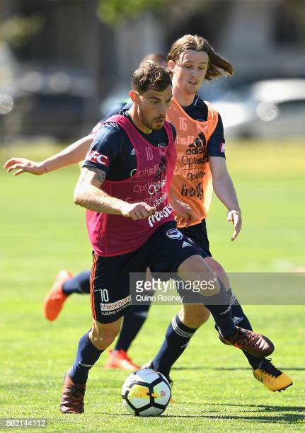 James Troisi of the Victory controls the ball during a Melbourne Victory ALeague training session at Gosch's Paddock on October 17 2017 in Melbourne...