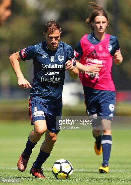James Troisi of the Victory controls the ball during a Melbourne Victory ALeague training session at Gosch's Paddock on October 18 2017 in Melbourne...
