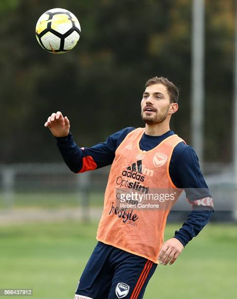 James Troisi of the Victory controls the ball during a Melbourne Victory ALeague training session at Gosch's Paddock on October 26 2017 in Melbourne...