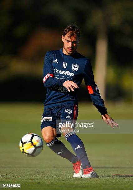 James Troisi of the Victory controls the ball during a Melbourne Victory ALeague training session at Gosch's Paddock on February 2 2018 in Melbourne...