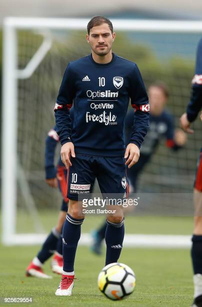James Troisi of the Victory controls the ball during a Melbourne Victory ALeague training session at Gosch's Paddock on March 1 2018 in Melbourne...