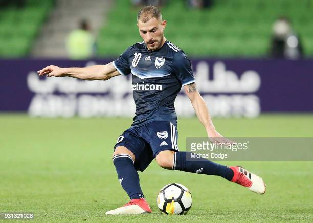 James Troisi of the Victory kicks the ball during the AFC Asian Champions League match between the Melbourne Victory and Kawasaki Frontale at AAMI...