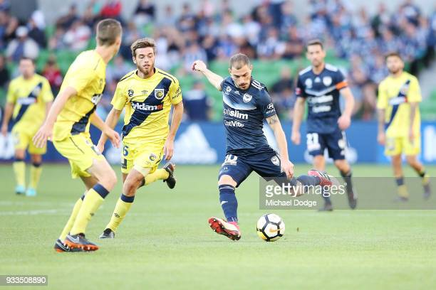 James Troisi of the Victory kicks the ball during the round 23 ALeague match between the Melbourne Victory and the Central Coast Mariners at AAMI...