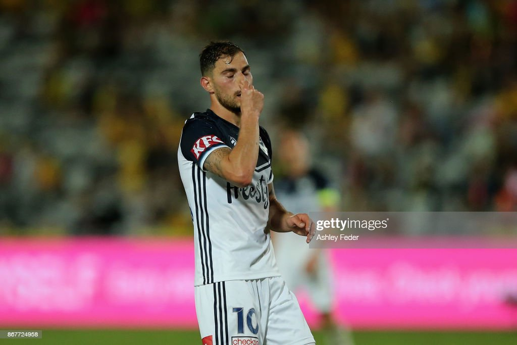 James Troisi of the Victory looks dejected after a near miss at goal during the round four A-League match between the Central Coast Mariners and the Melbourne Victory at Central Coast Stadium on October 29, 2017 in Gosford, Australia.