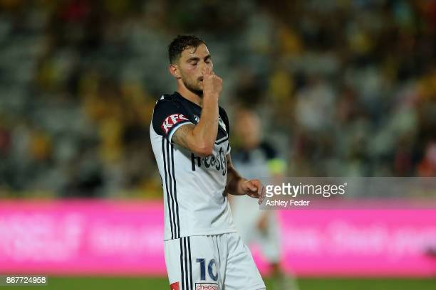 James Troisi of the Victory looks dejected after a near miss at goal during the round four ALeague match between the Central Coast Mariners and the...