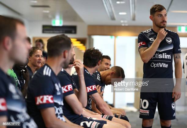 James Troisi of the Victory looks on during a Melbourne Victory ALeague portrait session on November 1 2017 in Melbourne Australia