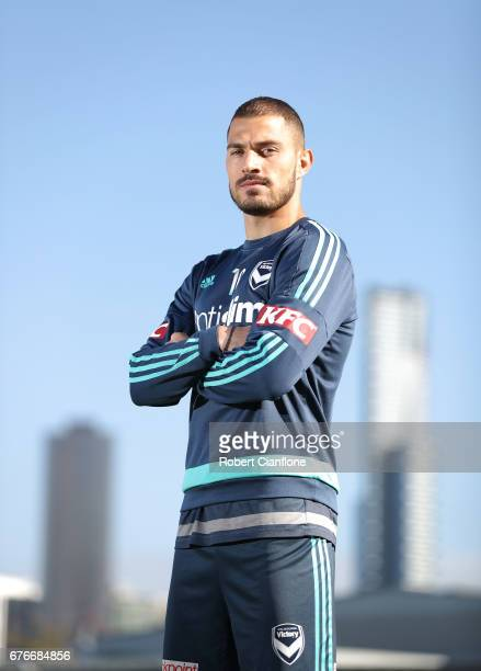 James Troisi of the Victory poses during a Melbourne Victory ALeague media opportunity at AAMI Park on May 3 2017 in Melbourne Australia