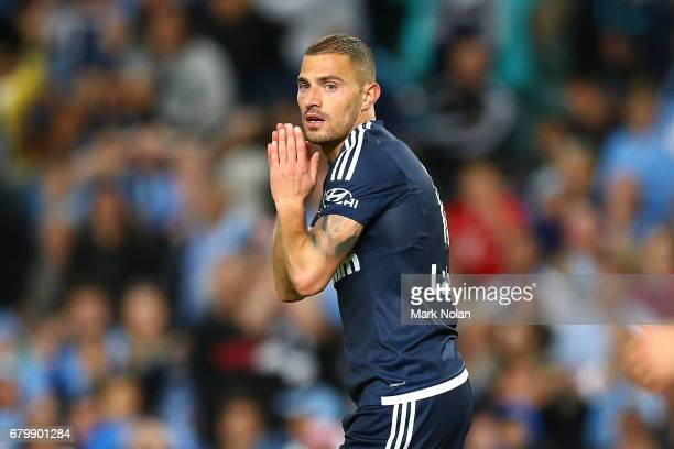 James Troisi of the Victory reacts after missing a shot on goal during the 2017 ALeague Grand Final match between Sydney FC and the Melbourne Victory...