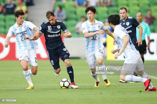 James Troisi of the Victory runs with the ball during the AFC Asian Champions Leagu between the Melbourne Victory and Ulsan Hyundai FC at AAMI Park...
