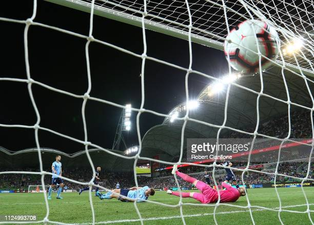 James Troisi of the Victory scores during the round 16 ALeague match between the Melbourne Victory and Sydney FC at AAMI Park on January 26 2019 in...