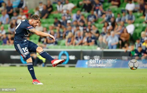 James Troisi of the Victory shoots and scores the Victorys first goal during the round 20 ALeague match between the Melbourne Victory and the...