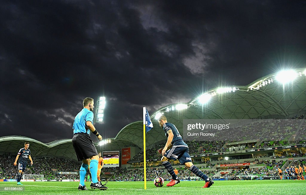 James Troisi of the Victory takes a corner during the round 15 A-League match between the Melbourne Victory and the Brisbane Roar at AAMI Park on January 13, 2017 in Melbourne, Australia.