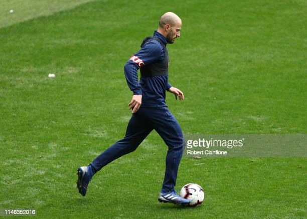 James Troisi of the Victory trains away from the main group during a Melbourne Victory Media Opportunity at AAMI Park on May 02, 2019 in Melbourne,...