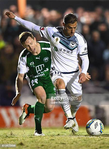 James Troisi of the Victry kicks for goal during the FFA Cup match between Bentleigh Greens and Melbourne Victory at Kingston Heath Soccer Complex on...