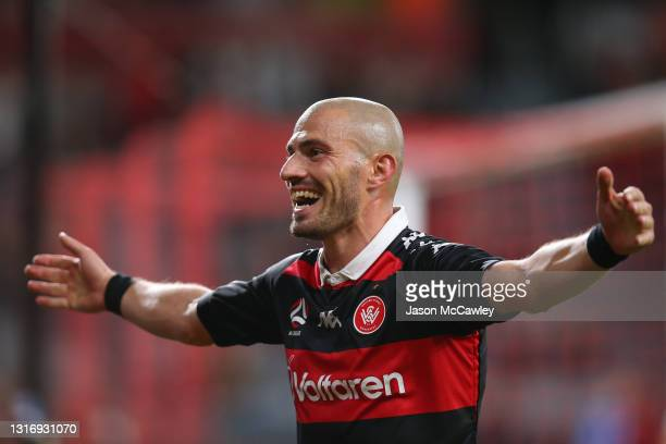 James Troisi of the Wanderers celebrates a goal during the A-League match between Western Sydney Wanderers and Western United at Bankwest Stadium, on...