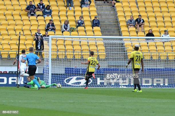 James Troisi scores a goal of Melbourne Victory during the round nine ALeague match between the Wellington Phoenix and the Melbourne Victory at...