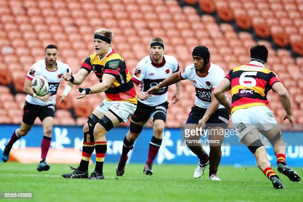 James Tucker of Waikato passes the ball out during the round eight Mitre 10 Cup match between Waikato and North Harbour at FMG Stadium on October 8...