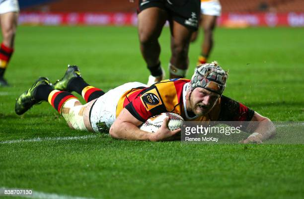 James Tucker of Waikato scores a try during the round two Mitre 10 Cup match between Waikato and Counties Manuka at FMG Stadium on August 25 2017 in...
