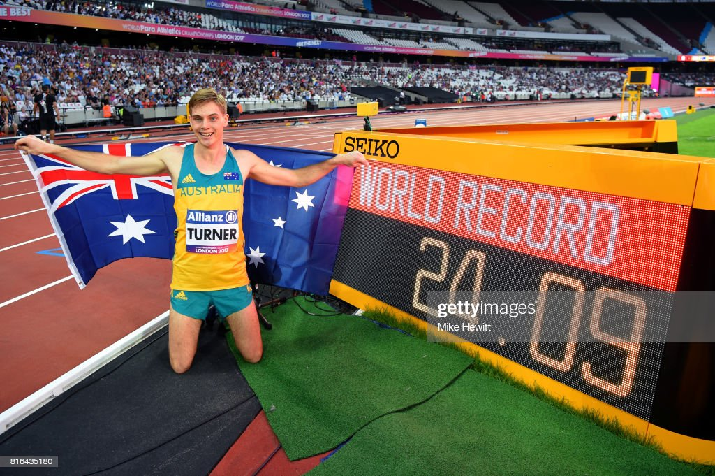 James Turner of Australia after setting a new world record and winning the Men's 200m T36 Final during day four of the IPC World ParaAthletics Championships 2017 at the London Stadium on July 17, 2017 in London, England.