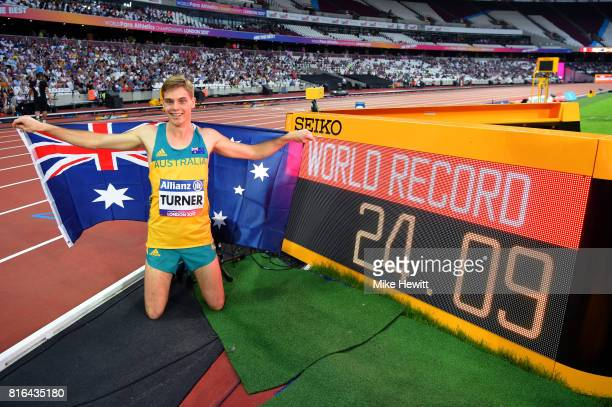 James Turner of Australia after setting a new world record and winning the Men's 200m T36 Final during day four of the IPC World ParaAthletics...