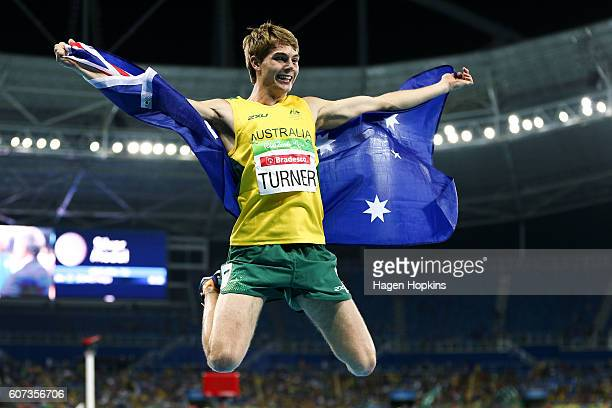 James Turner of Australia celebrates after winning gold in the Men's 800m T36 final on day 10 of the Rio 2016 Paralympic Games at Pontal on September...