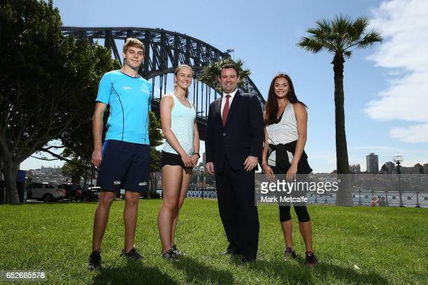 James Turner Riley Day Ella Nelson and Minister for Sport Stuart Ayres pose during the Australian Athletics Championships Launch on March 13 2017 in...