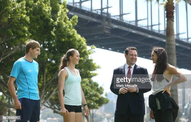 James Turner Riley Day Ella Nelson and Minister for Sport Stuart Ayres talk during the Australian Athletics Championships Launch on March 13 2017 in...