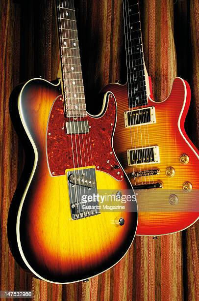 James Tyler Mongoose Retro and Mongoose electric guitars during a studio shoot for Guitarist Magazine December 12 2006