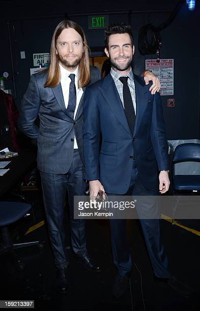 James Valentine and Adam Levine backstage at the 39th Annual People's Choice Awards at Nokia Theatre LA Live on January 9 2013 in Los Angeles...