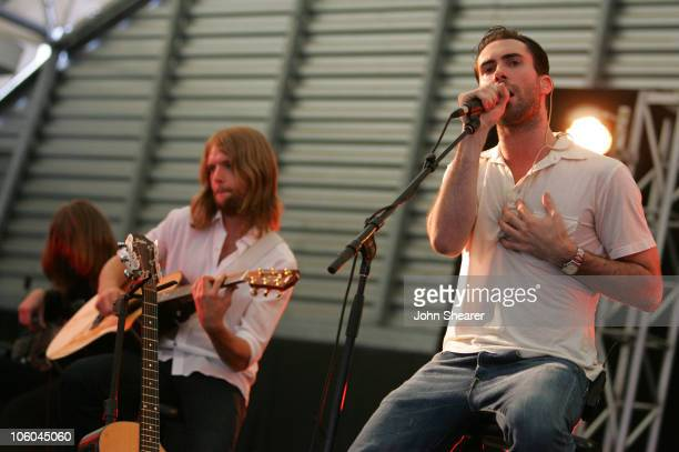 James Valentine and Adam Levine of Maroon 5 during Make an Impact for Teen Impact with Maroon 5 at Private Residence in Brentwood California United...
