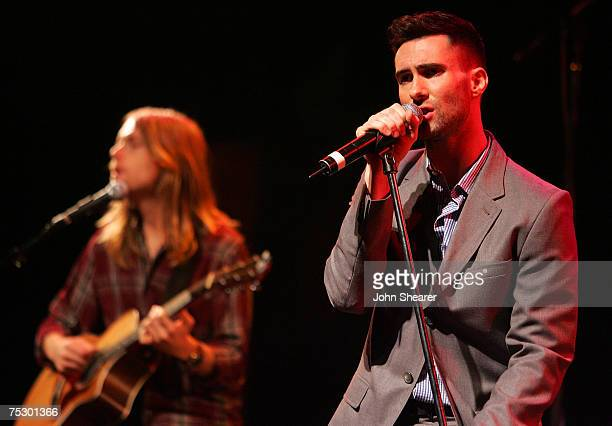 James Valentine and Adam Levine of Maroon 5 performs at a press conference announcing their It Won't Be Soon Before Long tour at the House of Blues...
