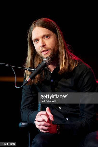James Valentine guitarist for the Grammy Award winning group Maroon 5 speaks at Musicians Institute Concert Hall on May 3 2012 in Los Angeles...