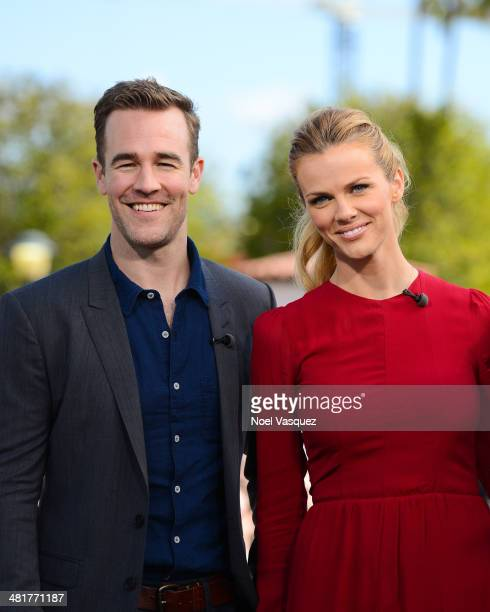 James Van Der Beek and Brooklyn Decker visit Extra at Universal CityWalk on March 31 2014 in Universal City California
