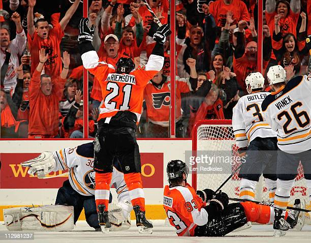 James van Riemsdyk of the Philadelphia Flyers celebrates after scoring against the Buffalo Sabres in the second period in Game Five of the Eastern...