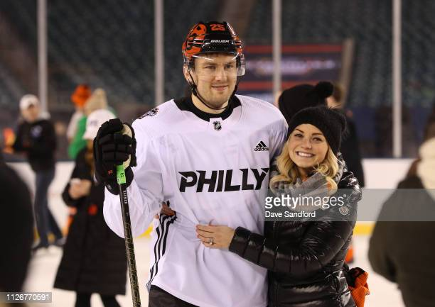 James van Riemsdyk of the Philadelphia Flyers participates in the family skate at Lincoln Financial Field on February 22 2019 in Philadelphia...