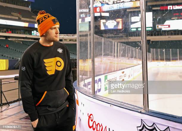 James van Riemsdyk of the Philadelphia Flyers surveys the ice surface prior to his game against the Pittsburgh Penguins at the 2019 Coors Light NHL...