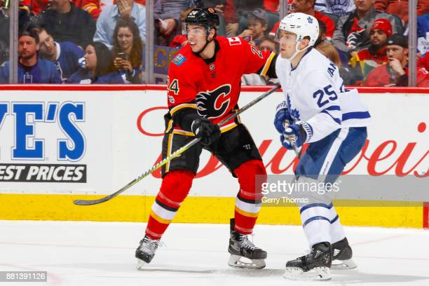 James van Riemsdyk of the Toronto Maple Leafs and Travis Hamonic of the Calgary Flames battle for position in an NHL game against the Toronto Maple...