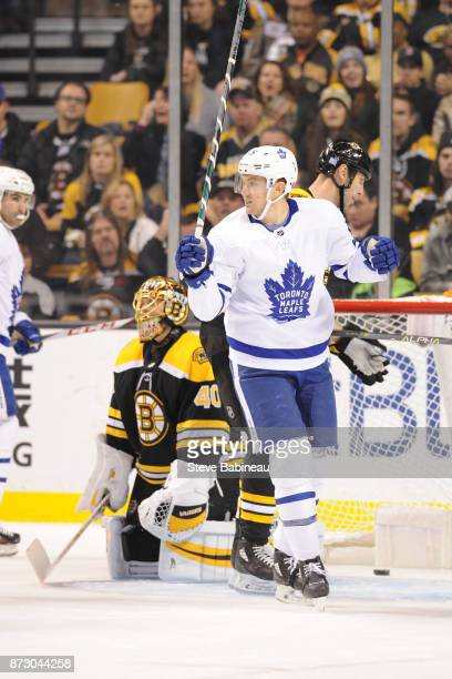 James van Riemsdyk of the Toronto Maple Leafs celebrates a goal in the first period against the Boston Bruins at the TD Garden on November 11 2017 in...