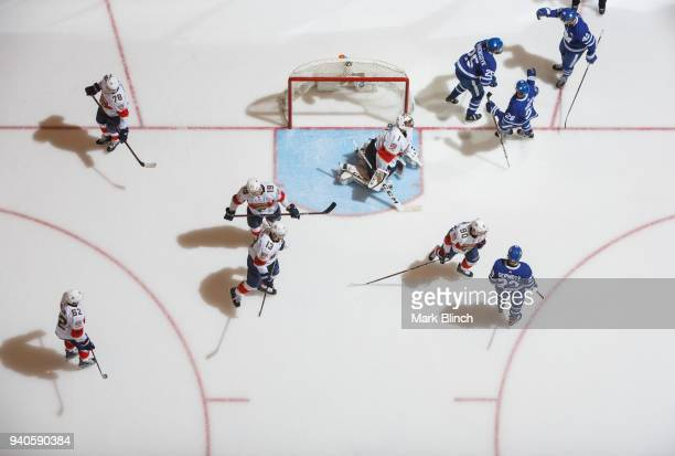 James van Riemsdyk of the Toronto Maple Leafs celebrates his 200th career goal with teammates Tyler Bozak Connor Brown and Travis Dermott against...