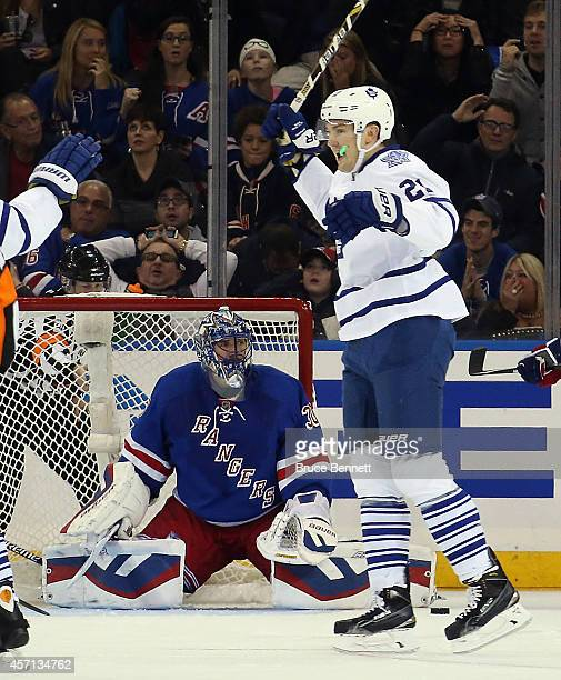 James van Riemsdyk of the Toronto Maple Leafs celebrates his sorthanded goal at 943 of the second period against Henrik Lundqvist of the New York...